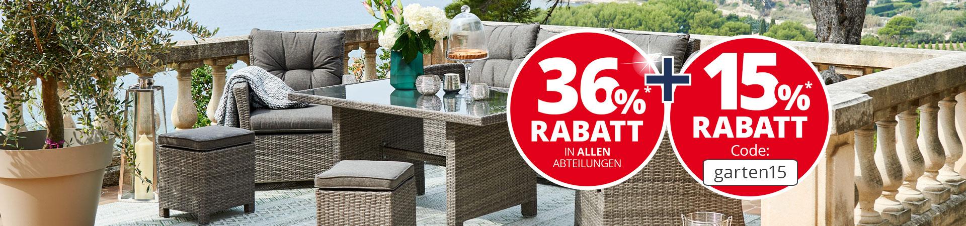 Bis zu 45,6% Rabatt auf ausgewählte Gartenmöbel & Terrassenmöbel