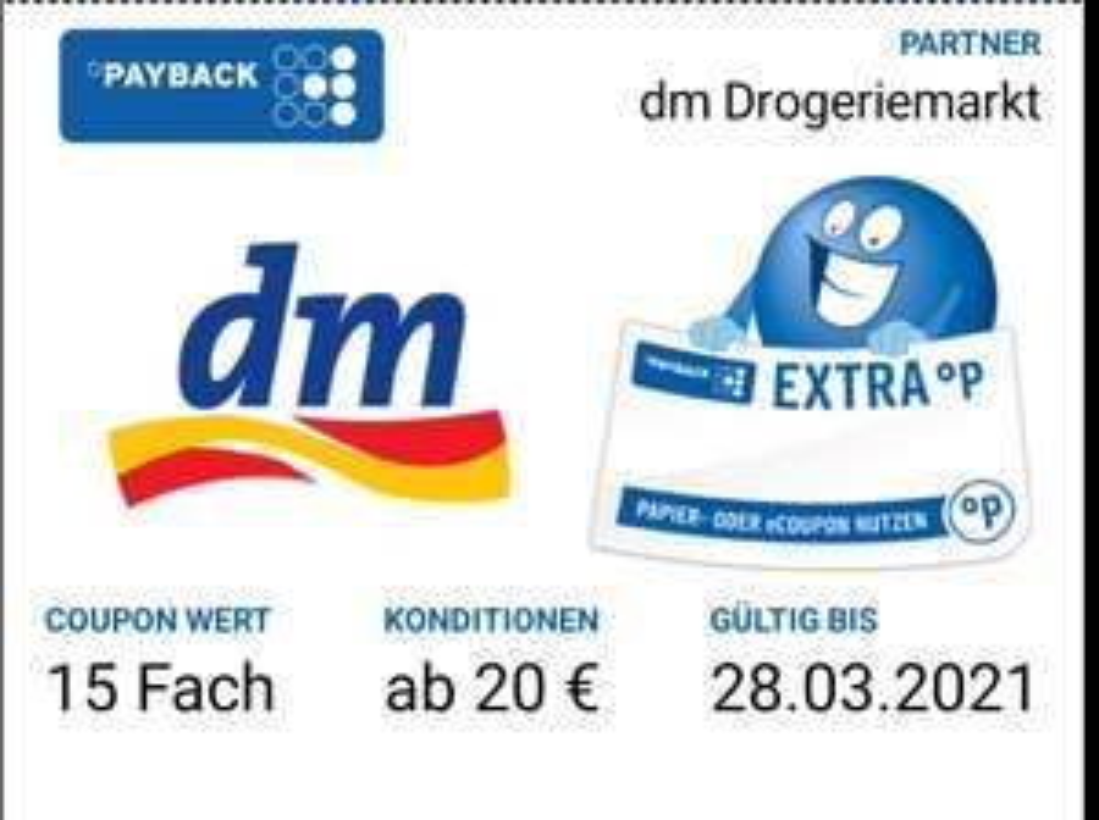 Payback 3x 15 Fach & 1x 10 Fach bei DM
