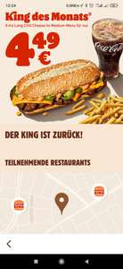 X-tra Long Chili Cheese als King des Monats bei Burger King BUNDESWEIT