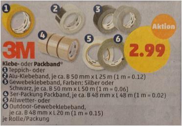 3M Klebebänder oder das 3er-Set Packband für je 2,99 Euro [Penny]