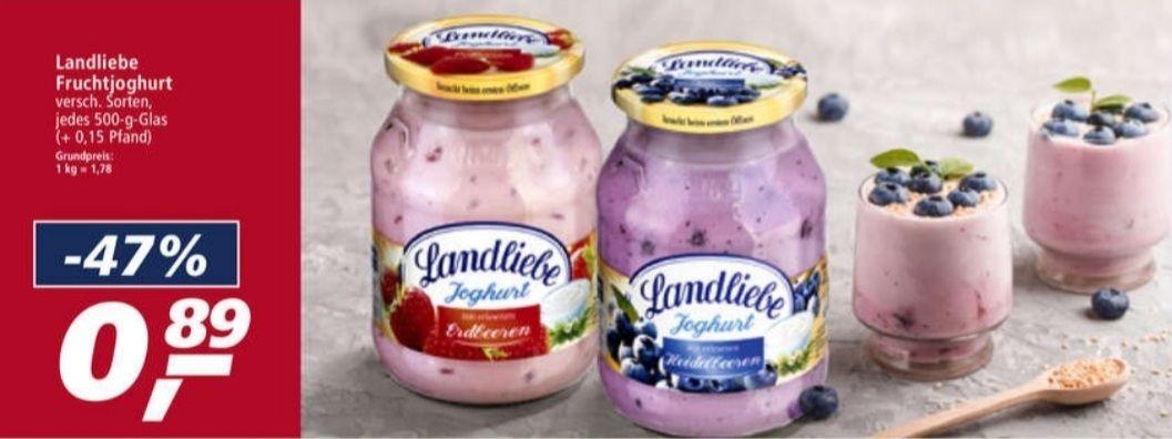 Landliebe Fruchtjoghurt 500 g Glas verschiedene Sorten Real 08.03-13.03
