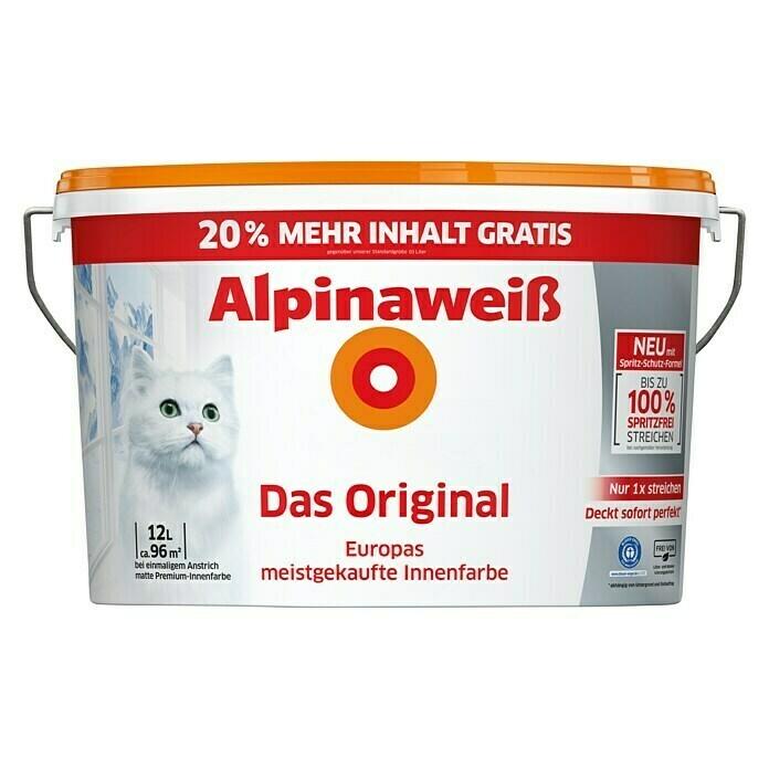 Alpinaweiß, Das Original mit der Katze, 12 Liter bei Globus 44,99 Euro, somit bei Bauhaus mit TPG für für 39,59 Euro [Bauhaus]