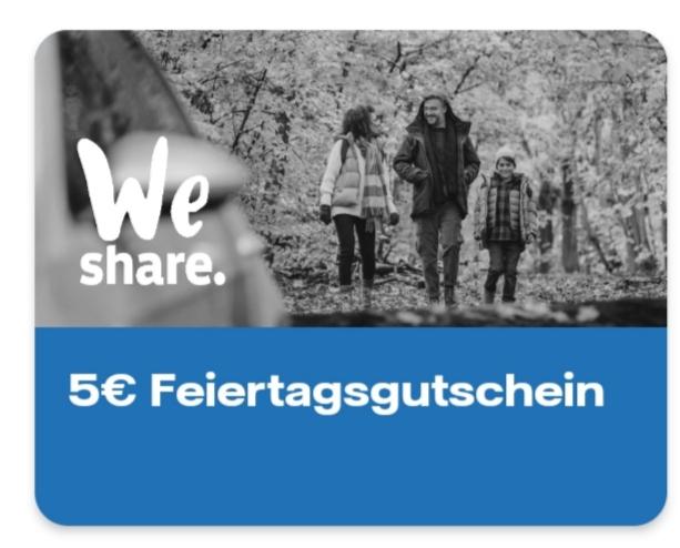 Vattenfall App 5€ Weshare Guthaben für den Feiertag morgen