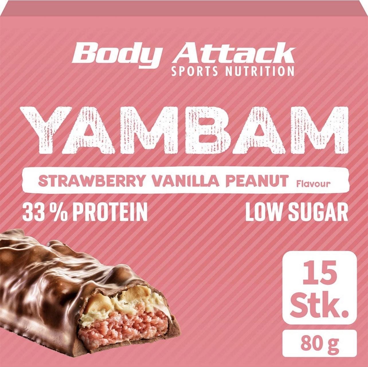 Body Attack YAMBAM, Proteinriegel mit 33% Eiweiß, Fitness-Riegel ohne Zuckerzusatz und ohne Aspartam (Strawberry Vanilla Peanut, 15 x 80g)
