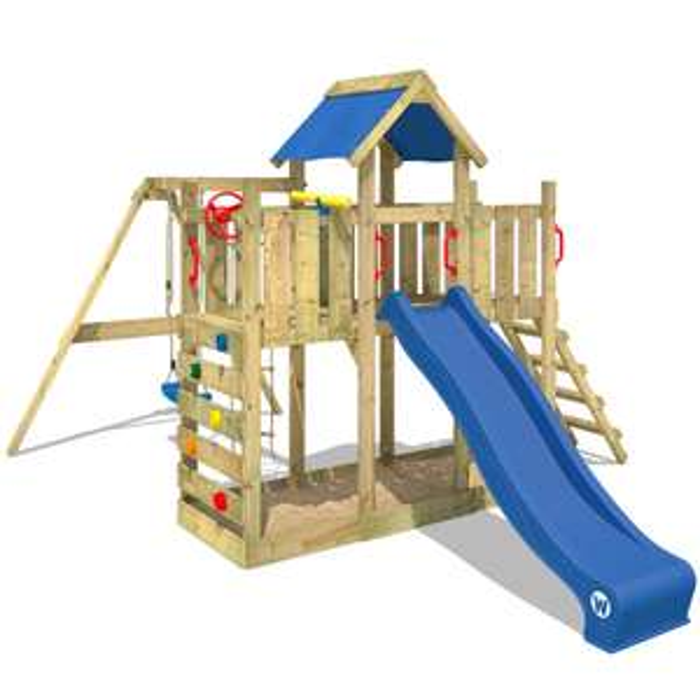 WICKEY Spielturm Klettergerüst TwinFlyer mit Schaukel & blauer Rutsche, Kletterturm mit Sandkasten, Leiter & Spiel-Zubehör [real.de]