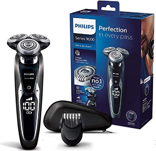 Philips S9721/41 Elektrischer Nass-und Trockenrasierer Series 9000 mit V-Track-Pro-Klingen, Bartstyler [Amazon]