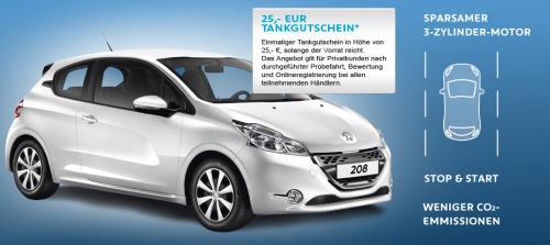 Peugeot 208 Probe fahren und dazu noch 25 € als Tankgutschein erhalten