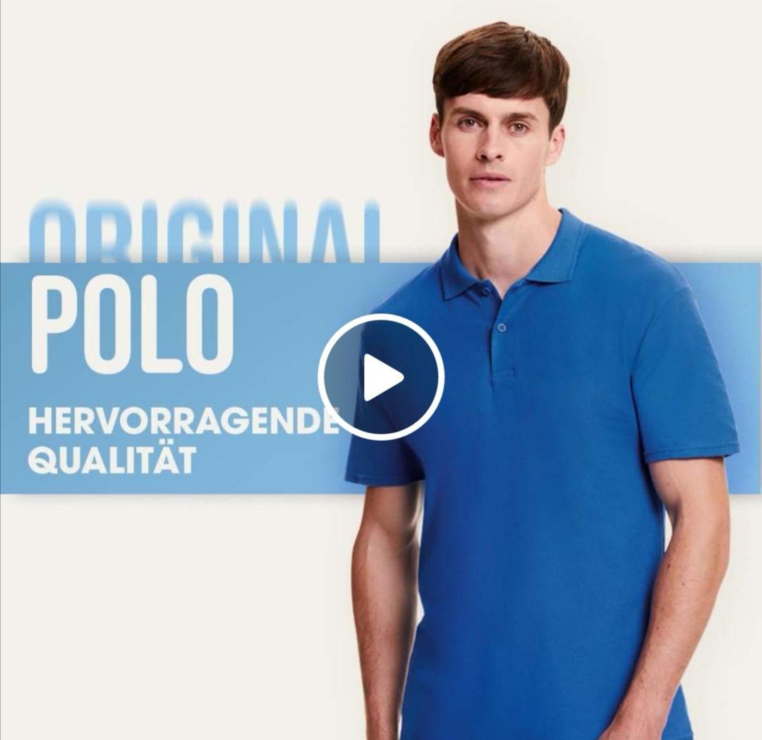 Fruit of the Loom - Poloshirt - Gratismuster in blau & M - für Geschäftskunden