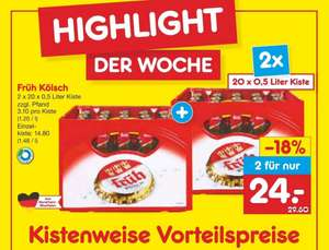 [Netto MD] früh Kölsch 2x 20x0,5l mit Coupon 19,20€ LOKAL Köln, bundesweite Aktion - regional diverse Biersorten