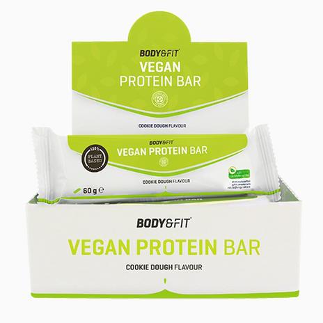 [Body&Fit] 36x60g Vegan Protein Bars - Geschmack: Cookie Dough (20g Eiweiß pro Riegel)