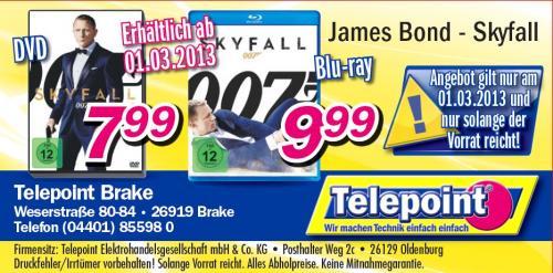 James Bond Skyfall als DVD für 7,99 Euro und BluRay für 9,99 Euro - LOKAL in Brake