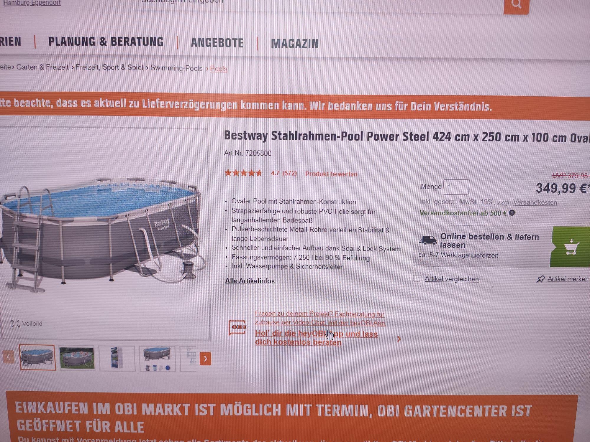 Bestway Stahlrahmen-Pool Power Steel 424 cm x 250 cm x 100 cm Oval