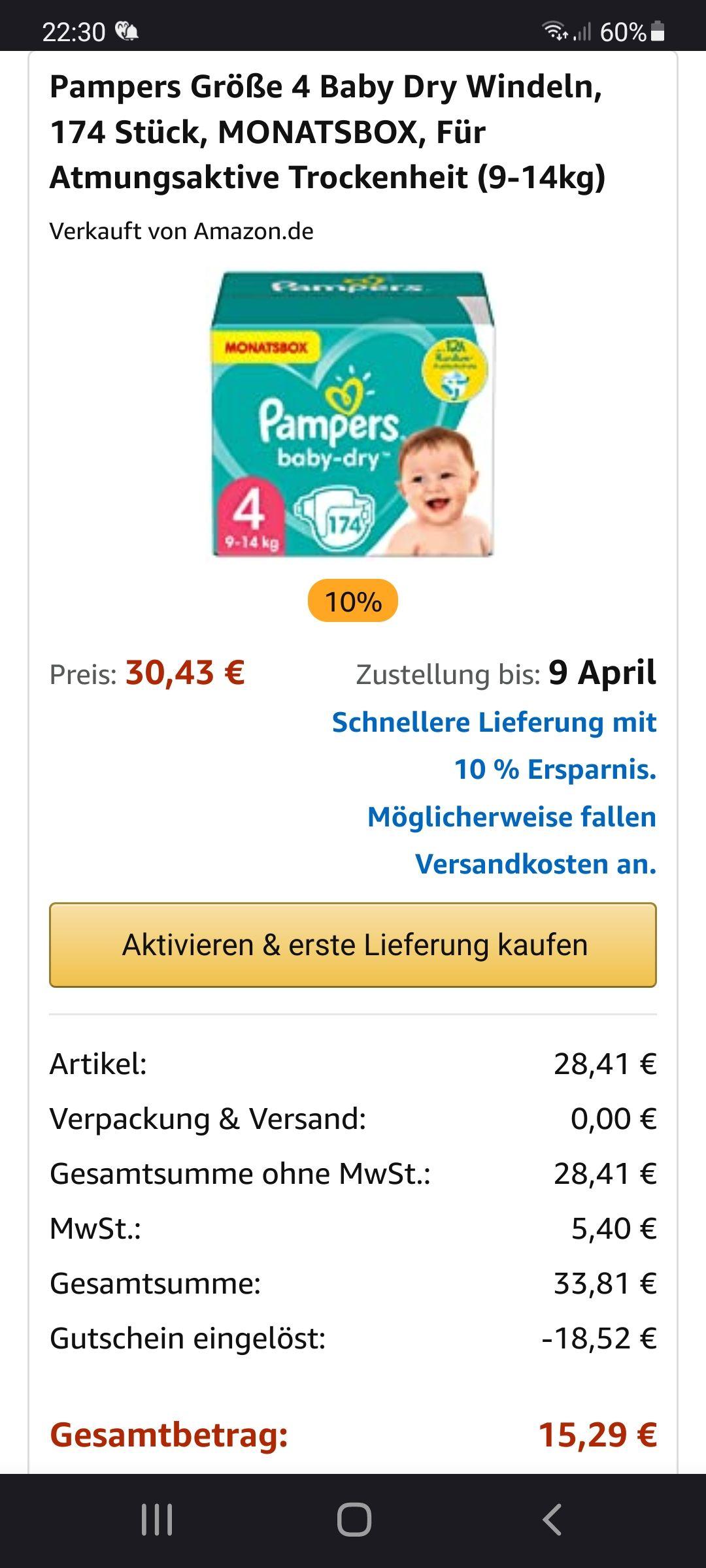 Pampers BabyDry Gr. 4 für 8,60c - 12,6c je Windel mit Amazon SparAbo - personalisiert