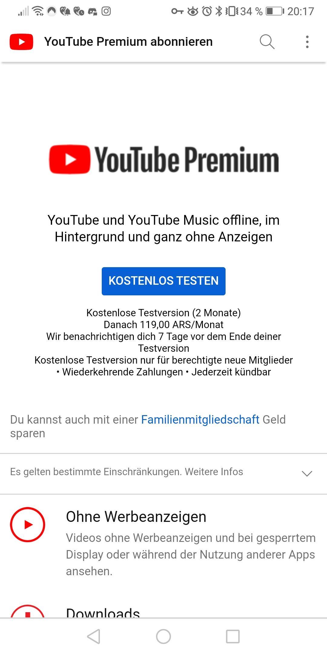 Youtube Premium durch VPN für 1.11€ (Argentinien)