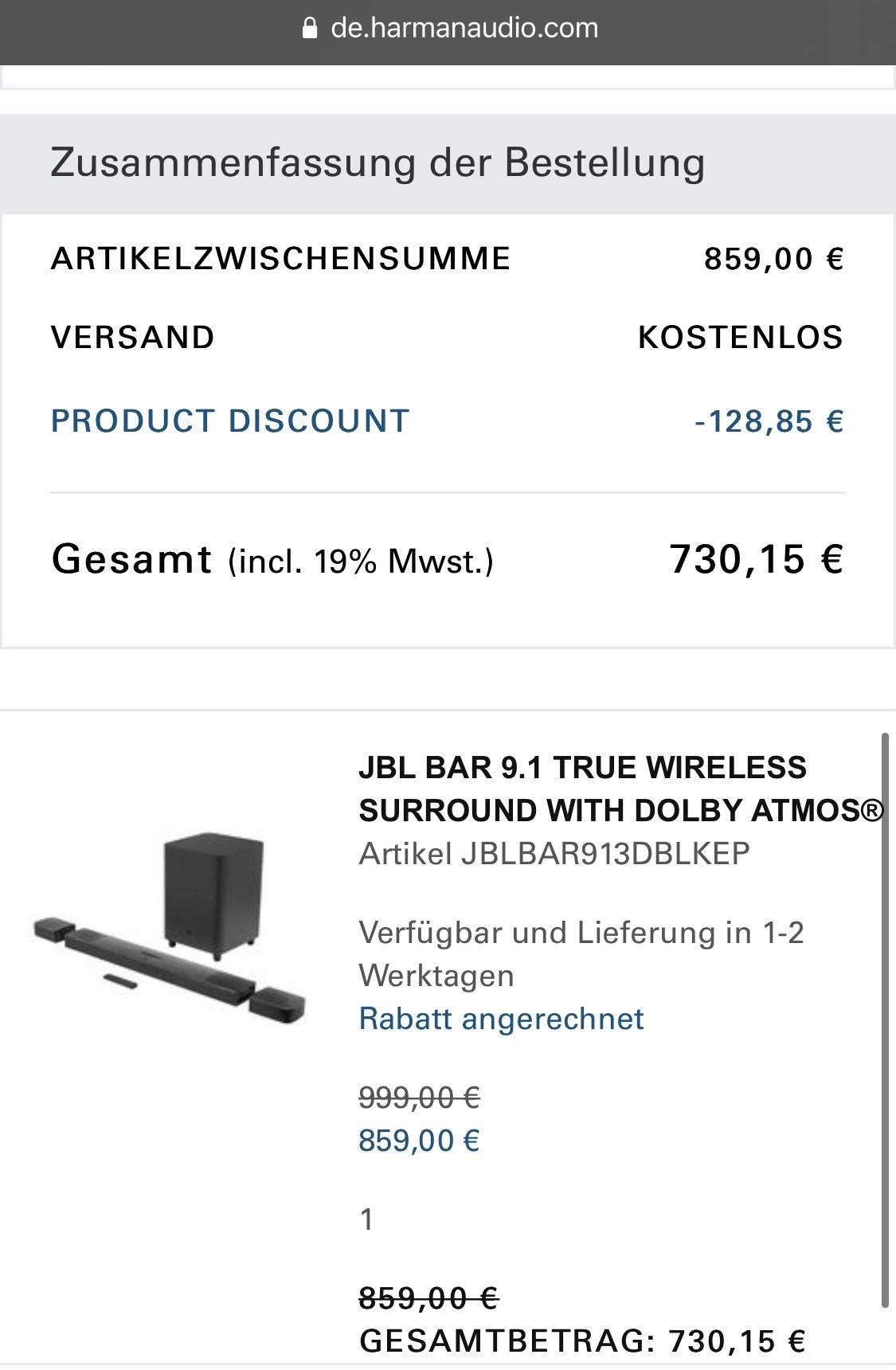 JBL 9.1 Soundbar für 644,25 €