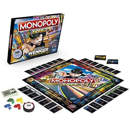 Monopoly Speed Brettspiel, Monopoly in weniger als 10 Minuten, eine schnelle Version des Monopoly Brettspiels ab 8 Jahren (Amazon Prime)