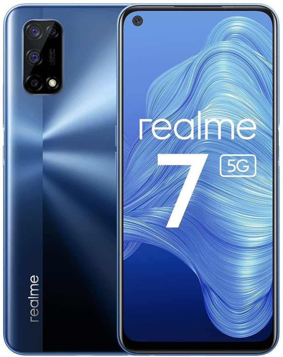 "Realme 7 5G 6,5"" FHD+ Dual-SIM Smartphone 6/128GB (120 Hz IPS, 341K AnTuTu, 5.000 mAh, Mediatek Dimensity 800U, 48 MP Quad-Cam, NFC, USB-C)"