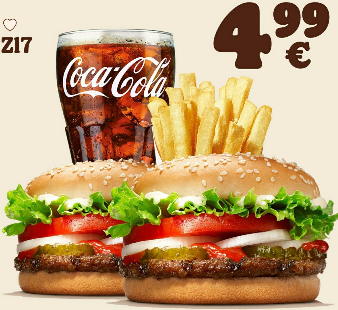 2x Whopper Jr. + mittlere Pommes + 0,4l Getränk 4,99€ [Burger King]