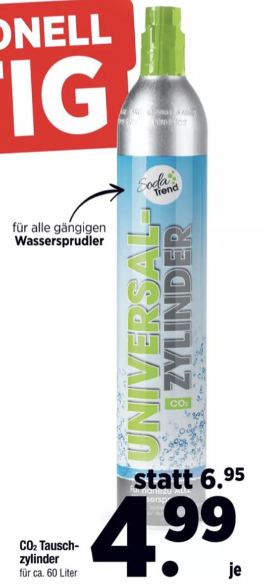 Lokal Mäc-Geiz: Kohlensäure Tauschzylinder für alle gängigen Wassersprudler (Sodastream, mySodapop usw.) für 4,99€