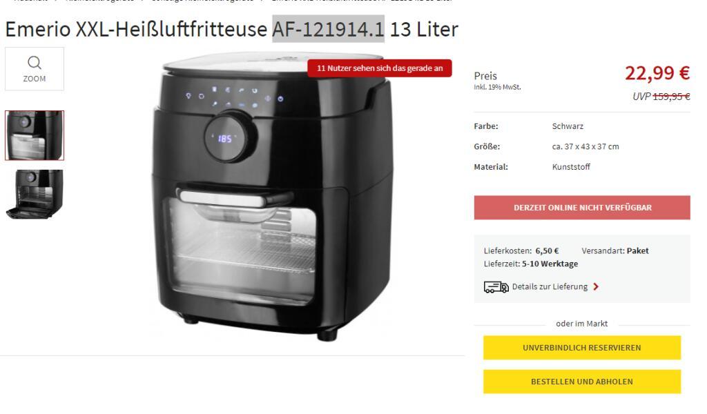 EMERIO XXL Heißluftfritteuse AF-121914.1 13 Liter