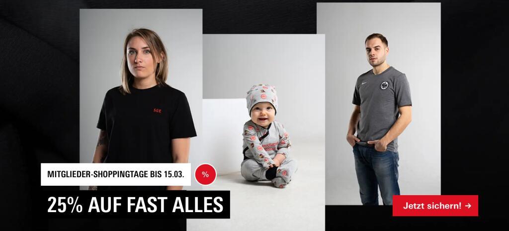 [Eintracht Frankfurt / nur Mitglieder] Mitglieder-Shoppingtage -> 25% auf fast Alles bis zum 15.03.2021 bspw. Apfelweinglas für 3€