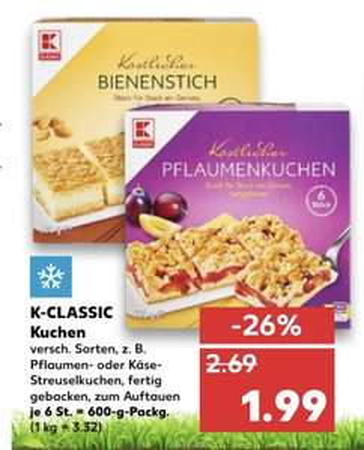(Kaufland Mo-Mi) K-Classic Kuchen je 6 Stück (6x 100g) für 1,99€ (Einzeln entnehmbar)