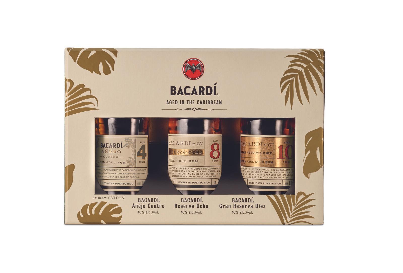 BACARDI Premium Discovery Pack (Cuatro, Ocho, Diez Miniaturen 3x 10cl 40% Vol)