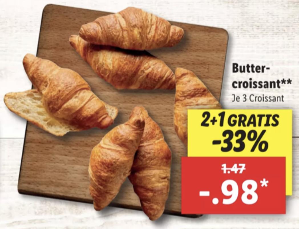 3 Butter Croissants 2+1 Gratis für 0,98€ / 3 Butter Croissants mit Nuss-Nougat-Creme 2+1 Gratis für 1,18€