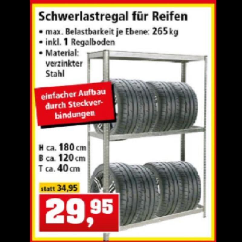 Schwerlastregal (180×120×40cm³) für Reifen (und Blumenerde?)