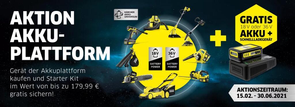 Aktionsgerät(e) von Kärcher kaufen und den passenden Akku + Schnellladegerät gratis erhalten