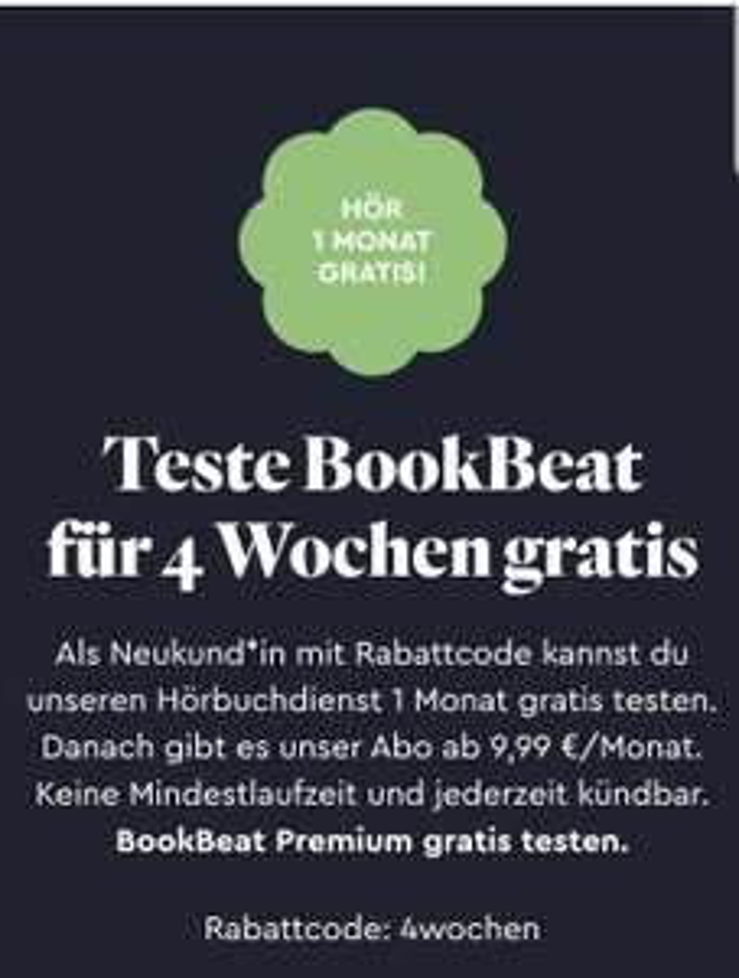 BookBeat: Mehr als 100.000 Hörbücher für 4 Wochen kostenlos anhören