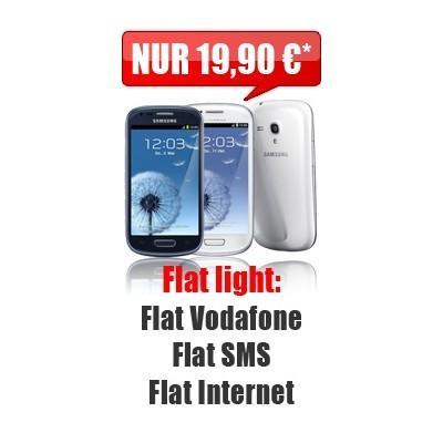 Samsung Galaxy S3 mini + D2 Flat + SMS Flat + Internet + NUR 19,90 €