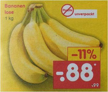 Bananen 1 kg für 88 Cent / Kiwi grün, Kl. 1, das Stück für 19 Cent [Netto MD]