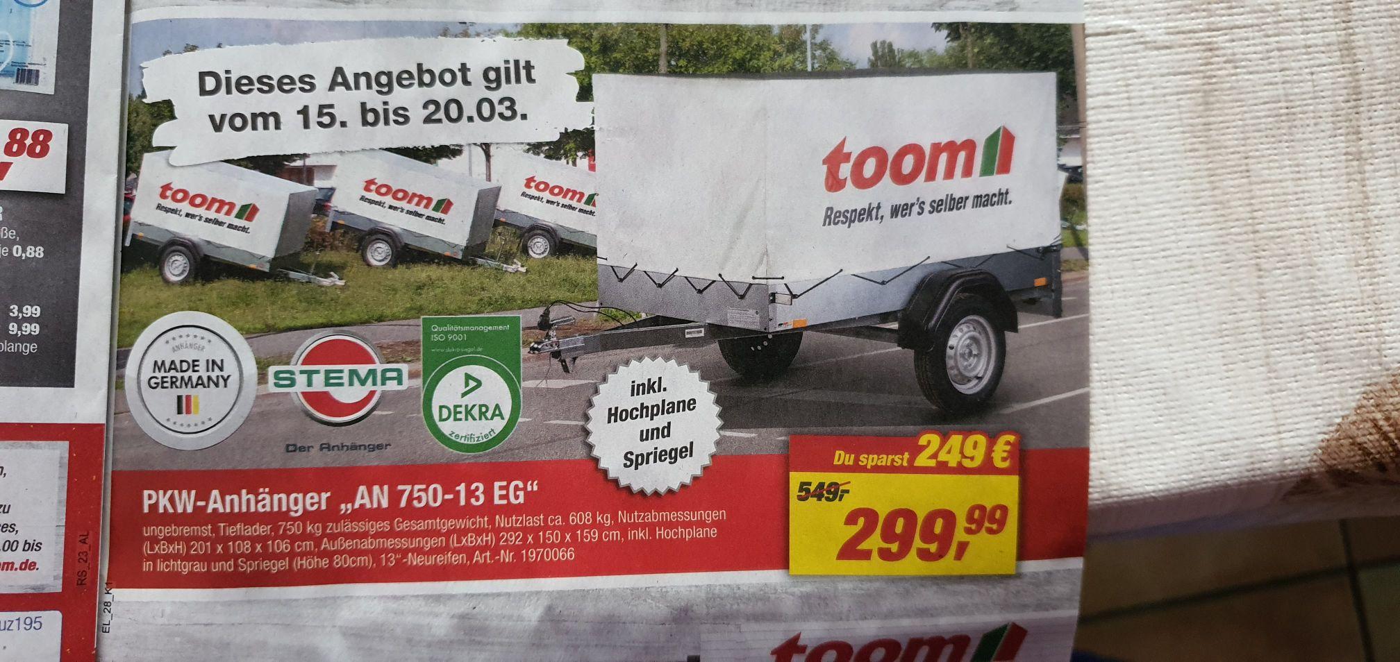 Pkw Anhänger An 750 13 EG (lokal Wattenscheid)