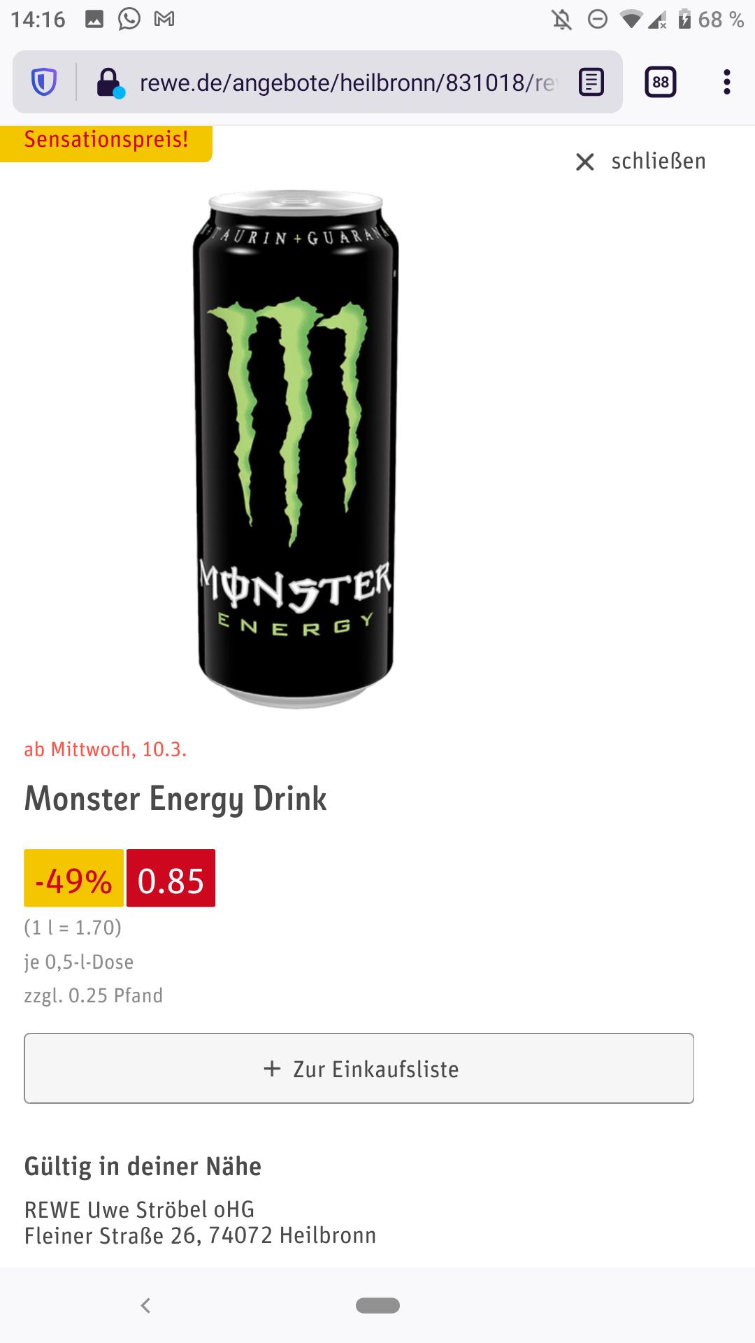 0,5 l Monster Energy Drink bei Rewe (verschiedene Sorten)