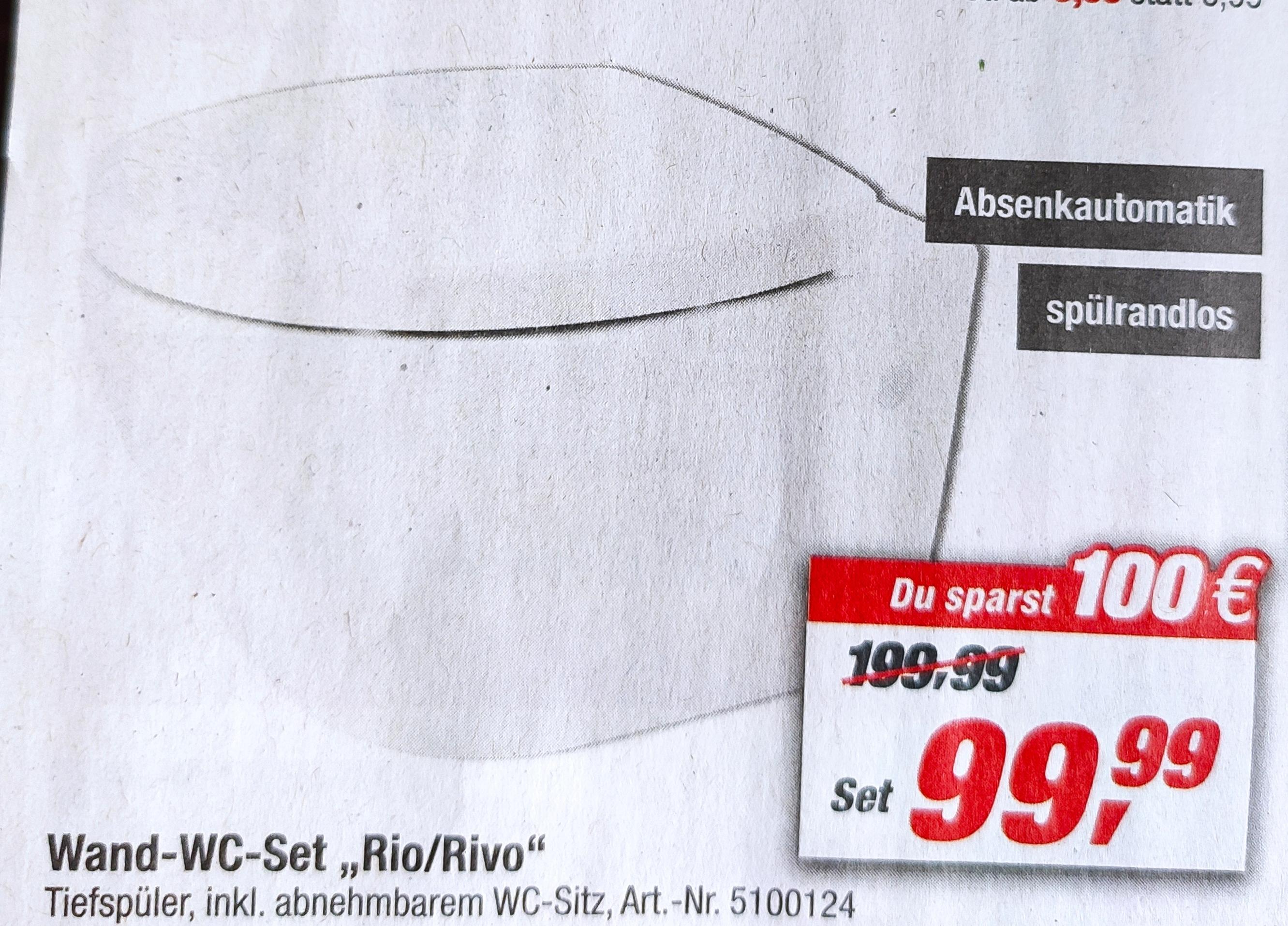 Wand WC Set Rio / Rivo Spülrandlos im Toom Baumarkt für 99.99€ (Lokal Bundesweit?) Nur noch bis 19.3!