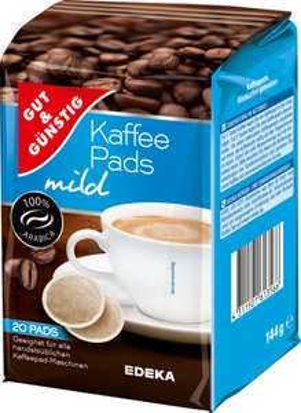 Edeka Hessenring eventuell auch andere Regionen: gut&günstig Kaffeepads, verschiedene Sorten im 20 Stück Pack' , === je Pad 5,55 Cent