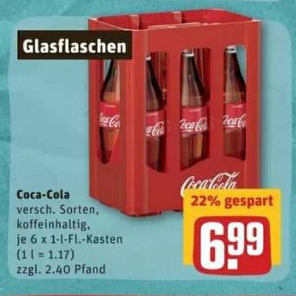 Coca Cola 6x1 l Glasflaschen bei Rewe im Angebot
