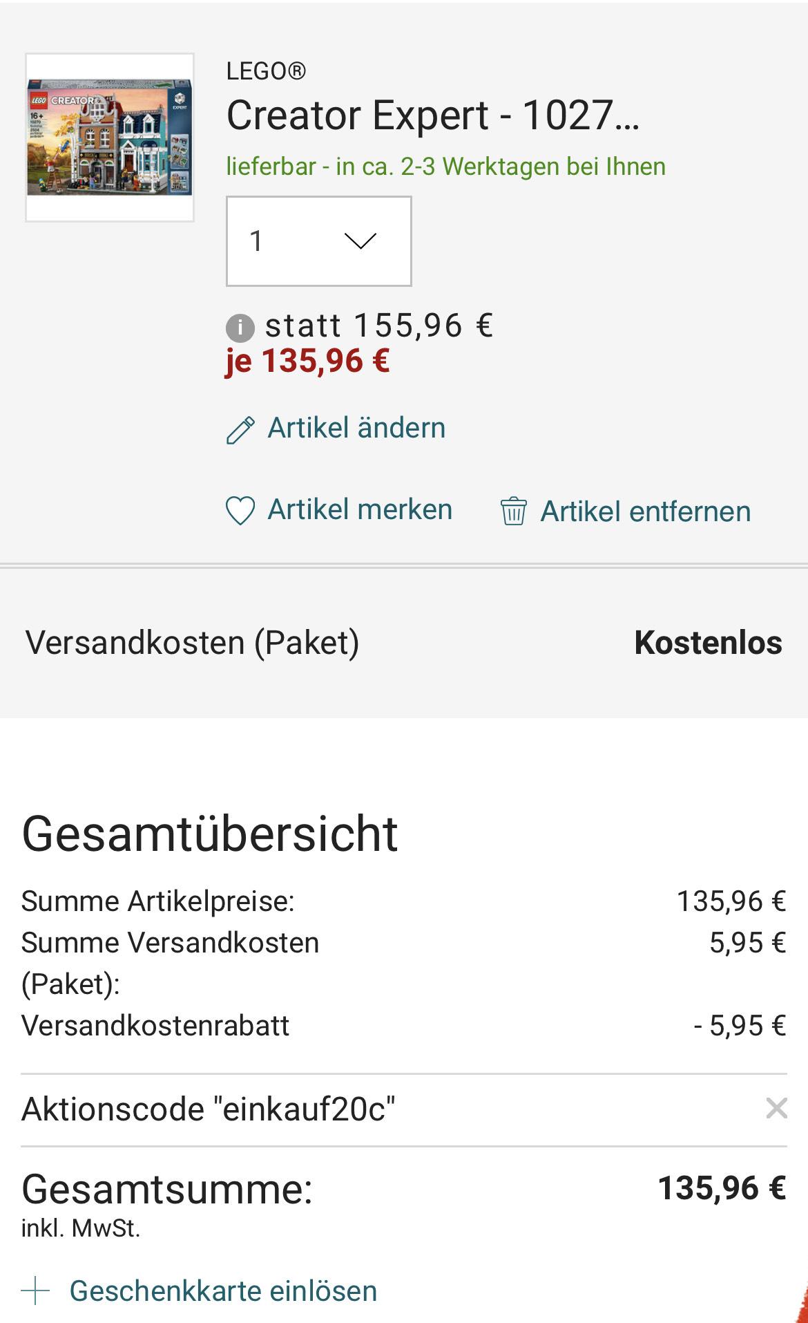LEGO® Creator Expert - 10270 Buchhandlung - Galeria Karstadt Kaufhof für 135,96€ für Kundenkarteninhaber (Evtl. personalisiert, MBW 100€)
