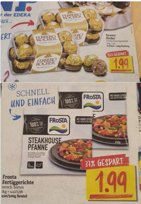 [NP-Discount ab 15.03] Ferrero Rocher/ 16Stück Packung oder Frosta Fertiggerichte (450g-500g) für je 1,99€ o.1,79€ mit Coupon