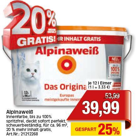 Alpinaweiß Das Original (12 l) [lokal: Baunatal im Ratio] - Mit Bauhaus TPG: 35,19 € [bundesweit]