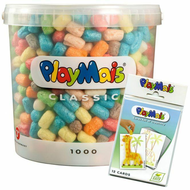 PlayMais Basic 1000er Eimer Classic mit 12 Bastelkarten und Zubehör [Rofu Click & Collect]