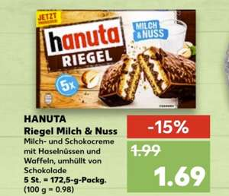 [Kaufland ab 18.03/Real ab 22.03] Hanuta Riegel Milch und Nuss in der 5 Stück Packung für 1,69€ bzw.1,59€