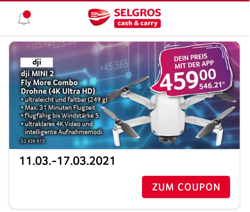 DJI mini 2 Fly more Combo Selgros (nur mit Mitgliedsausweis)