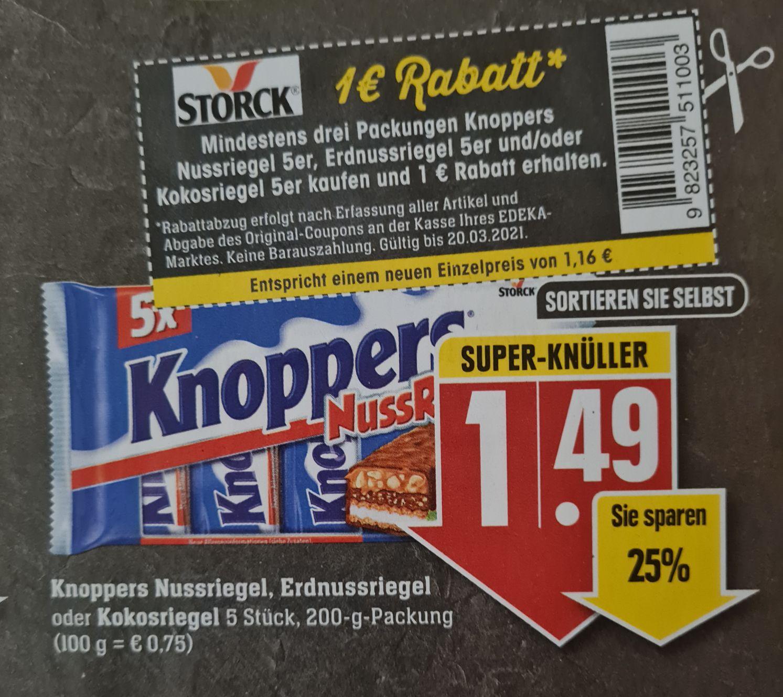 Knoppers Nussriegel, Erdnussriegel oder Kokosriegel 1 Euro Rabatt Kauf von 3 Packungen Edeka Südwest ab 15.03