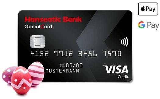 GenialCard VISA | 60€ + 4€ Bonus (Check24) oder 60€ (Hanseatic Bank) | ohne Jahresgebühr · weltweit gebührenfrei bezahlen & Bargeld abheben