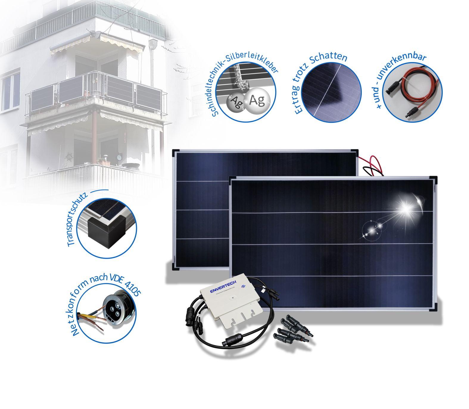 Balkonkraftwerk 300 Watt Solaranlage Envertech EVT300 und Solarmodulen in Schindeltechnik inkl. VERSAND