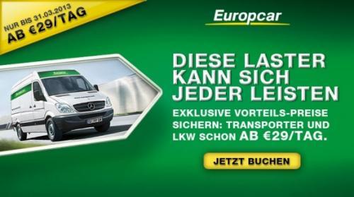 Europcar Mercedes Sprinter für 29,- Euro am Tag