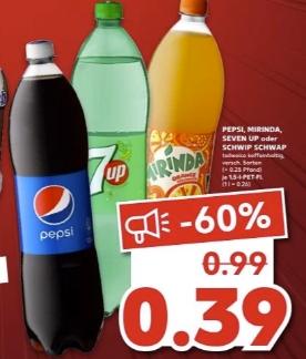 [Regional Kaufland-ehemals Real Filialen ab 18.03] Pepsi,Mirinda,Seven Up oder Schwipp Schwapp je 1,5 Liter für 0,39€
