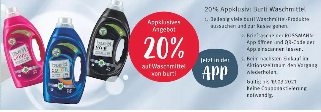 [ Rossmann App] 20% auf Burti Waschmittel und kombinierbar mit 10% Rossmann Gutschein